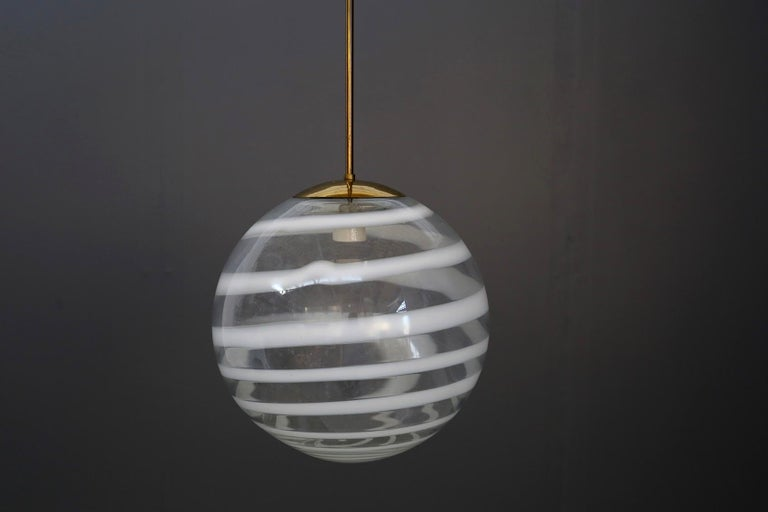 Mid-Century Modern Carlo Scarpa for Venini Pendant Midcentury in Brass and Glass, Published 1950s For Sale