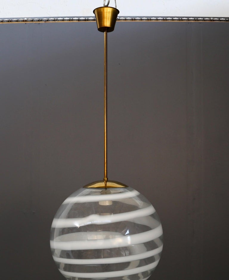 Carlo Scarpa for Venini Pendant Midcentury in Brass and Glass, Published 1950s In Good Condition For Sale In Milano, IT