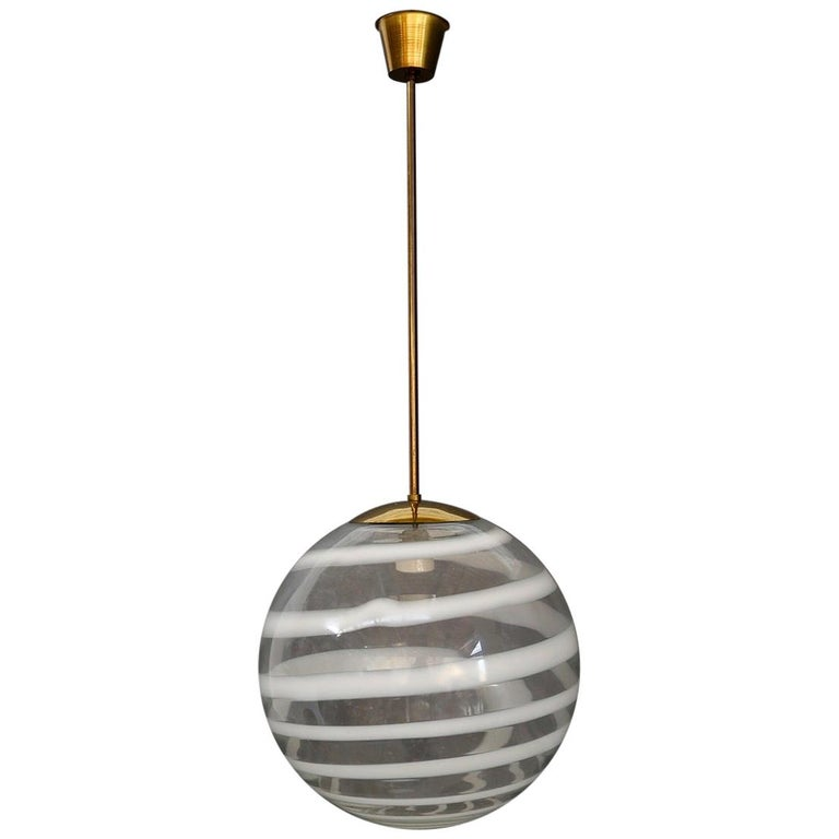Carlo Scarpa for Venini Pendant Midcentury in Brass and Glass, Published 1950s For Sale