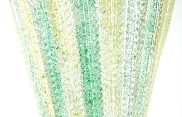 Italian Carlo Scarpa for Venini Waterfall Foliate Murano Chandelier Pendant, 1940s For Sale