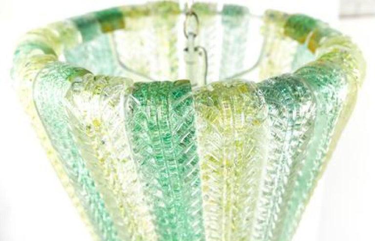 20th Century Carlo Scarpa for Venini Waterfall Foliate Murano Chandelier Pendant, 1940s For Sale