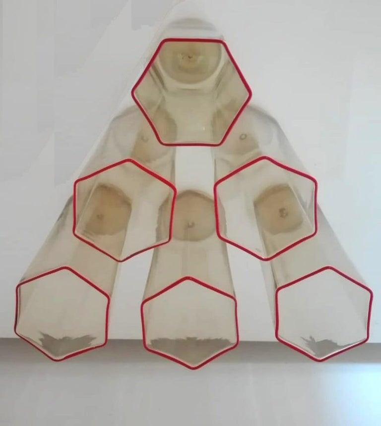 20th Century Carlo Scarpa 'Hexagonal' Handblown Glass Set of Six Flutes for Venini, 1970s For Sale