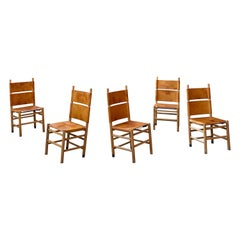 "Carlo Scarpa ""Kentucky"" Dining Chairs for Bernini, 1977, Set of 5"