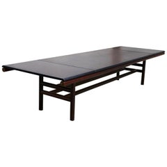 Carlo Scarpa Large Table Midcentury, Gritti Series in Leather and Wood, 1970s