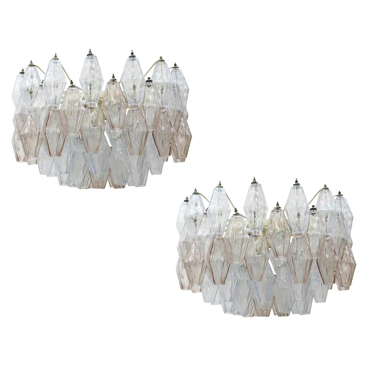 Carlo Scarpa Mid-Century Modern Venini Pair of Murano Glass Poliedri Lamps