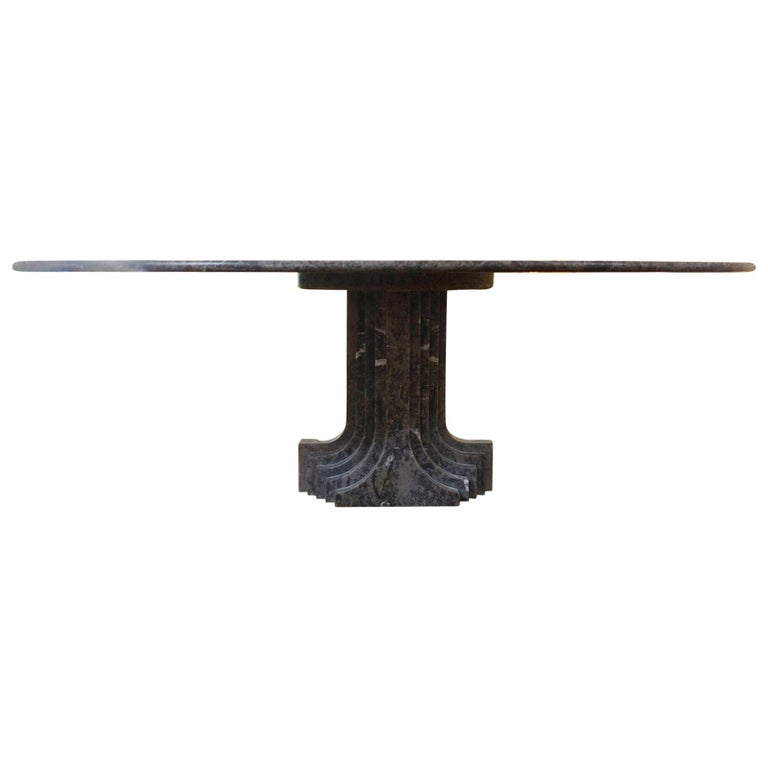 "Carlo Scarpa Oval Grey Marble ""Samo"" Table For Sale"