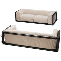 Carlo Scarpa Pair of 'Cornaro' Sofas in Off-White Fabric