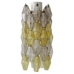 Carlo Scarpa Poliedri Ceiling Lamp for Venini in Yellow and Grey, Italy 1950s