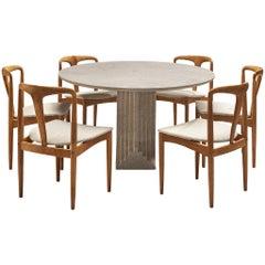 Carlo Scarpa 'Samo' Dining Table in Granit and J. Andersen 'Juliane' Chairs