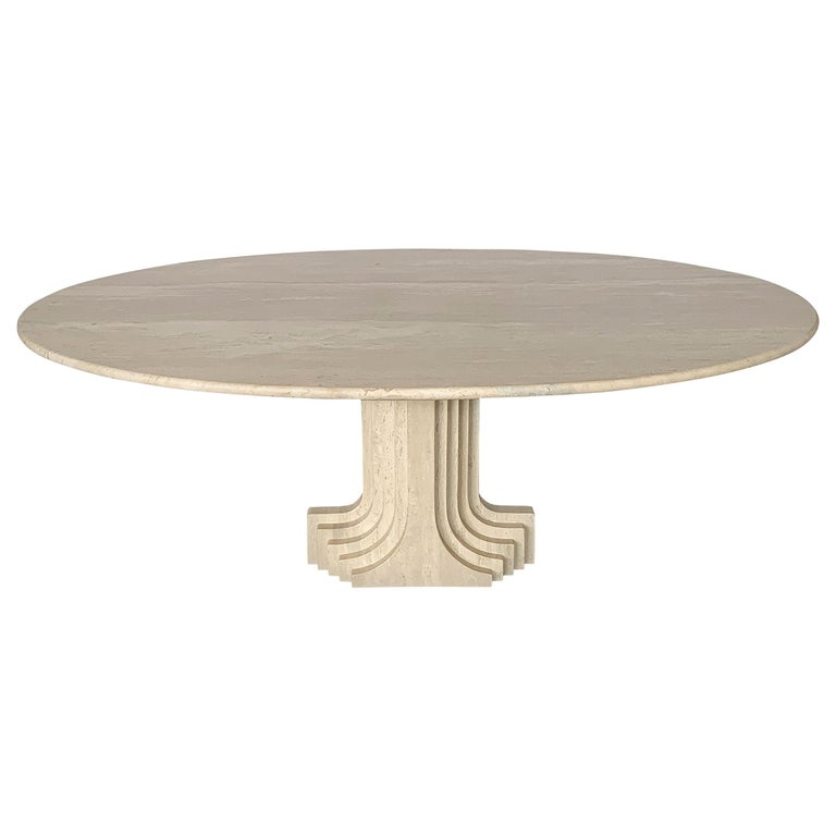 "Carlo Scarpa ""Samo"" Oval Travertine Pedestal Dining Table For Sale"