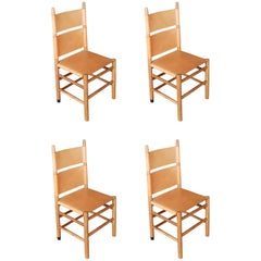 Carlo Scarpa Set of Four Italian Bernini Walnut Chairs with Natural Leather Seat
