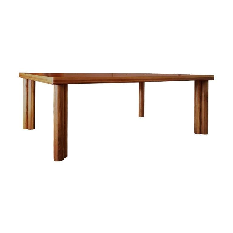 Post-Modern Carlo Scarpa Signed Large Natural Walnut Italian Table, Bernini, circa 1977 For Sale