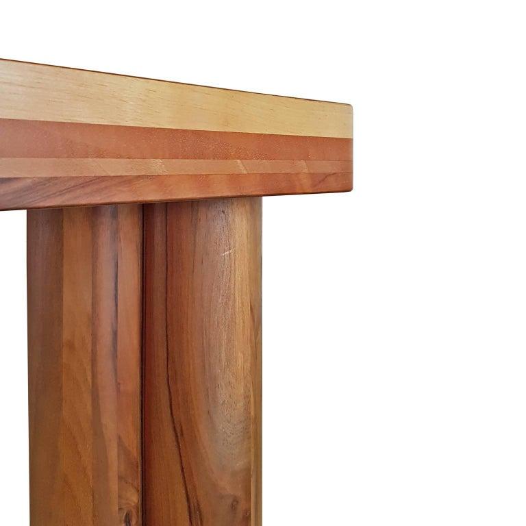 Wood Carlo Scarpa Signed Large Natural Walnut Italian Table, Bernini, circa 1977 For Sale