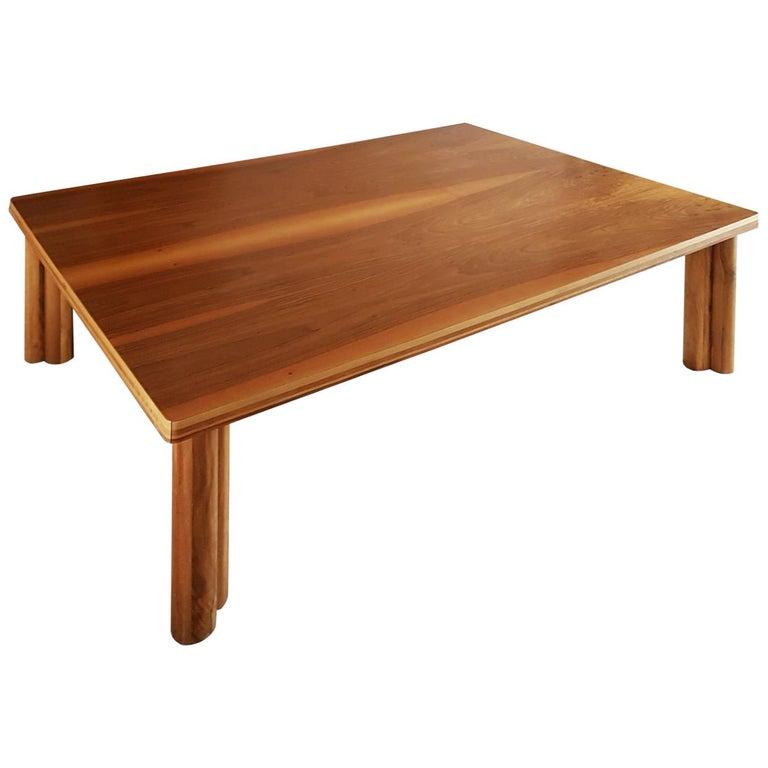 Carlo Scarpa Signed Large Natural Walnut Italian Table, Bernini, circa 1977 For Sale