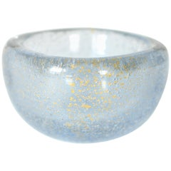 Carlo Scarpa Venini Blue and Gold Bullicante Blown Glass Bowl
