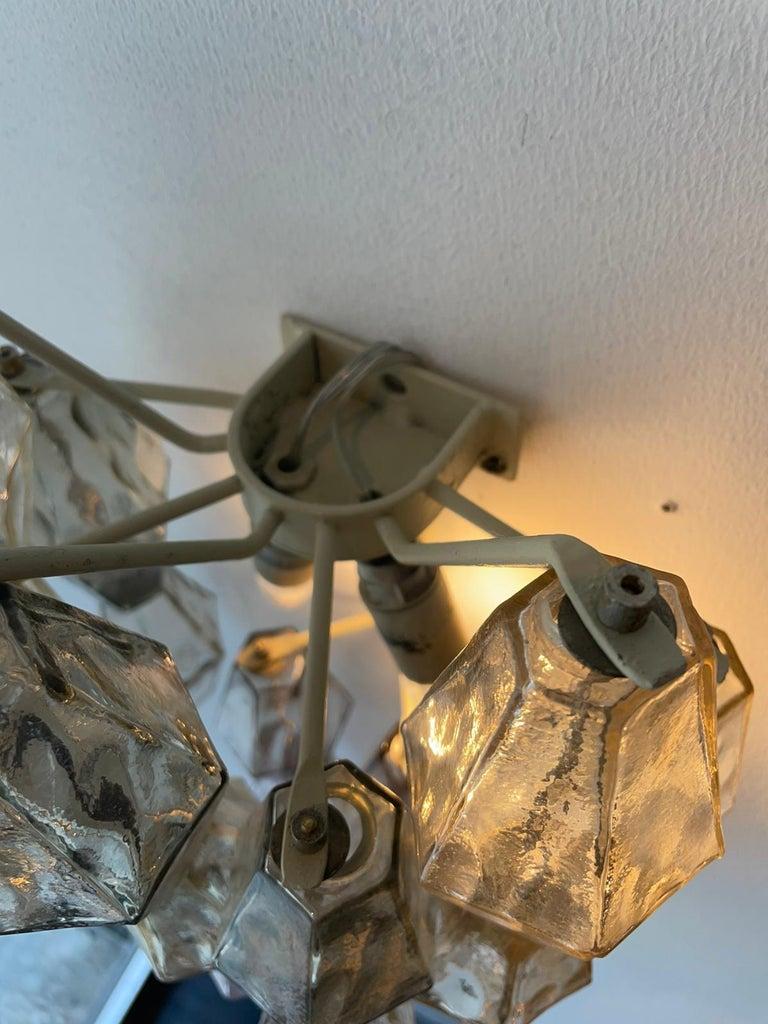 Mid-Century Modern Carlo Scarpa Venini Pair Wall Lamp Polyhedral Murano Glass, Italy, 1960