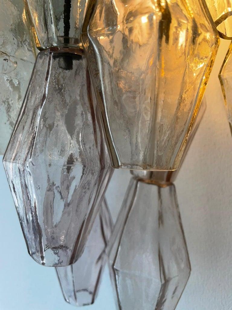 20th Century Carlo Scarpa Venini Pair Wall Lamp Polyhedral Murano Glass, Italy, 1960
