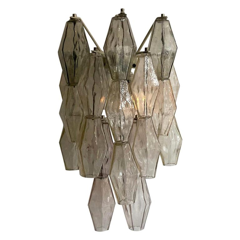 Carlo Scarpa Venini Pair Wall Lamp Polyhedral Murano Glass, Italy, 1960