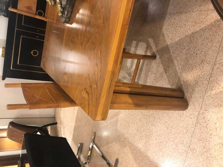 Carlo Scarpa Walnut Wood Scuderia Table and Kentucky Chairs for Bernini 1970s For Sale 9