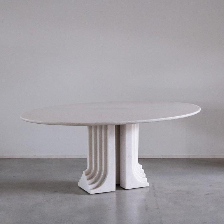 Mid-Century Modern Carlo Scarpa White Naxos Marble Samo Table for Simon, Italy, 1970 For Sale