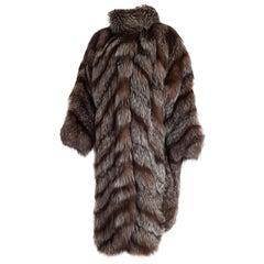 Carlo TIVIOLI Haute Couture Russian Arctic wild silver fox fur coat - Unworn New