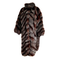 "Carlo TIVIOLI ""New"" Haute Couture Russian Arctic Wild Silver Fox Fur Coat-Unworn"