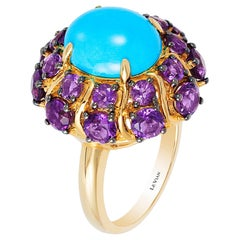 Carlo Viani 14K Yellow Gold Sleeping Beauty Turquoise and Amethyst Cocktail Ring