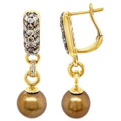 Carlo Viani 14K Yellow Gold Brown Pearl Chocolate Brown & White Diamond Earrings