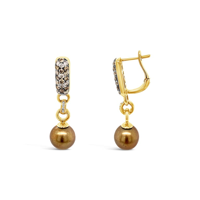 Round Cut Carlo Viani Earrings, Brown Pearls, White/Brown Diamonds, 14 Karat Honey Gold For Sale
