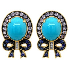 Carlo Viani Earrings-Turquoise, Tanzanite, Blue/White Sapphire, 14K Honey Gold