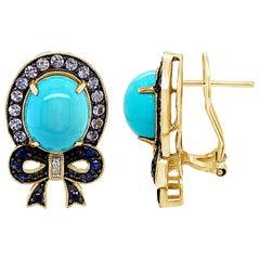 Carlo Viani Earrings, Turquoise, Tanzanite, Blue/White Sapphire, 14K Honey Gold
