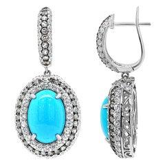 Carlo Viani 14K White Gold Turquoise, Blue Topaz, White Sapphire, Halo Earrings