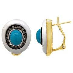 Carlo Viani Earrings, White Agate Turquoise, Brown Diamonds, 14 Karat Honey Gold