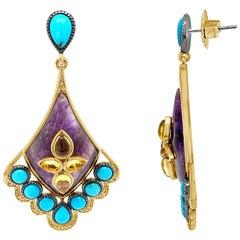 Carlo Viani Earrings with Quartz, Amethyst, Turquoise, Vanilla Diamonds, Silver