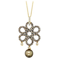 "Carlo Viani 14K Golden Pearl Brown & White Diamond Flower 18"" Pendant Neckalce"