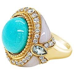 Carlo Viani Ring, Blue Topaz/Agate, White Sapphire Turquoise 14 Karat Honey Gold