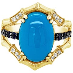 Carlo Viani 14K Yellow Gold Turquoise, Sapphire Authentic Gemstone Cocktail RIng
