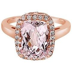 Carlo Viani Ring Featuring Kunzite Vanilla Diamonds, 14 Karat Strawberry Gold