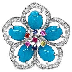 Carlo Viani 14K White Gold Turquoise, White & Pink Sapphire Flower Ring