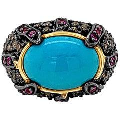 Carlo Viani 14K Yellow Gold Turquoise Pink Sapphire, Brown Diamond Cocktail Ring