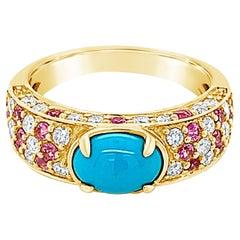 Carlo Viani 14K Yellow Gold Turquoise, Pink Sapphire, White Diamond Band Ring