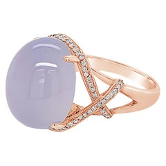 Carlo Viani 14K Rose Gold Chalcedony Gemstone & White Diamond Halo Cocktail Ring