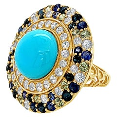 Carlo Viani 14K Yellow Gold Sleeping Beauty Turquoise, Multicolor Sapphire Ring