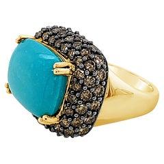 Carlo Viani 14K Yellow Gold Turquoise & Chocolate Brown Diamond Halo Ring