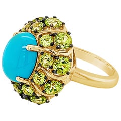Carlo Viani Ring with Turquoise, Green Apple Peridot Set in 14 Karat Honey Gold