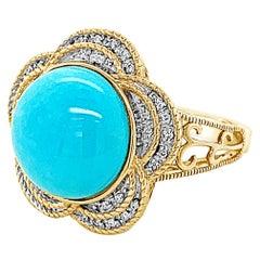 Carlo Viani Ring 14K Yellow Gold Turquoise & White Diamond Flower Cocktail Ring