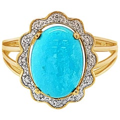 Carlo Viani Ring with Turquoise, Vanilla Diamonds Set in 14 Karat Honey Gold