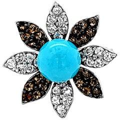 Carlo Viani 14K White Gold Turquoise, Smoky Quartz, White Sapphire Flower Ring