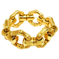 Carlo Weingrill Brushed Yellow Gold Bamboo Bracelet