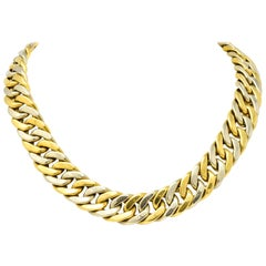 Carlo Weingrill Italian 18 Karat Two-Tone Yellow White Gold Curb Link Necklace